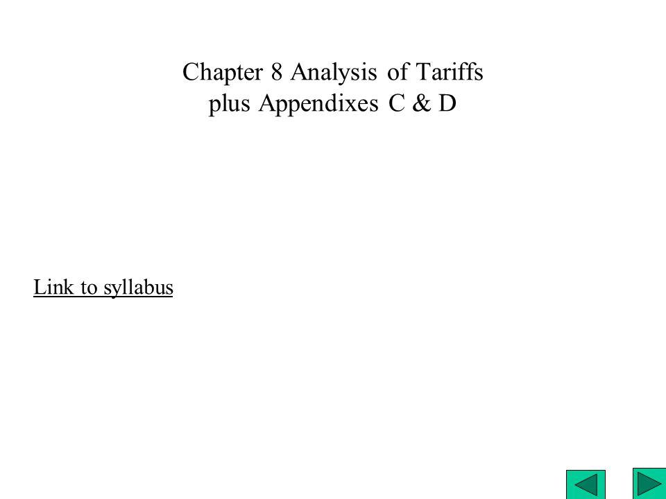 Chapter 8 Analysis of Tariffs plus Appendixes C & D Link to syllabus