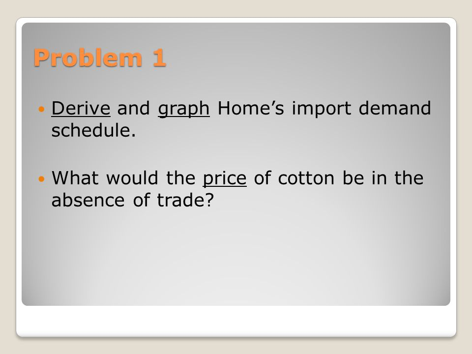 Problem 2 Derive and graph Foreign's export supply curve What price of cotton that would prevail in Foreign in the absence of trade.