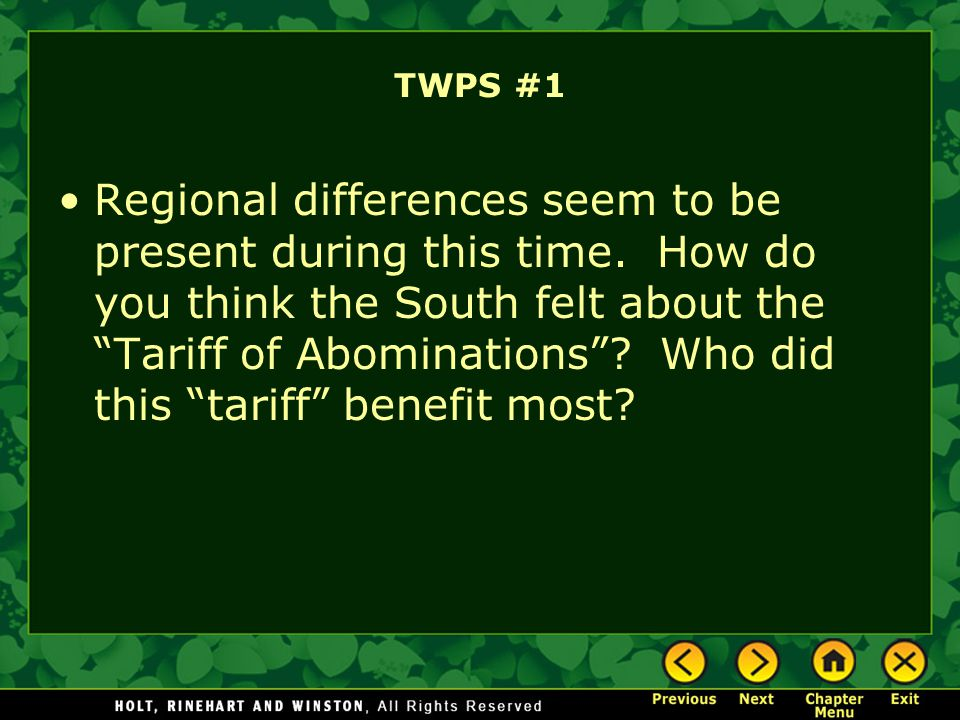 Main Idea 2: The rights of the states were debated amid arguments about a national tariff.