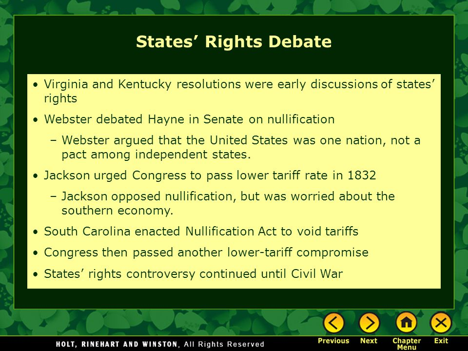 TWPS #2 Support the States' Rights debate and use examples.