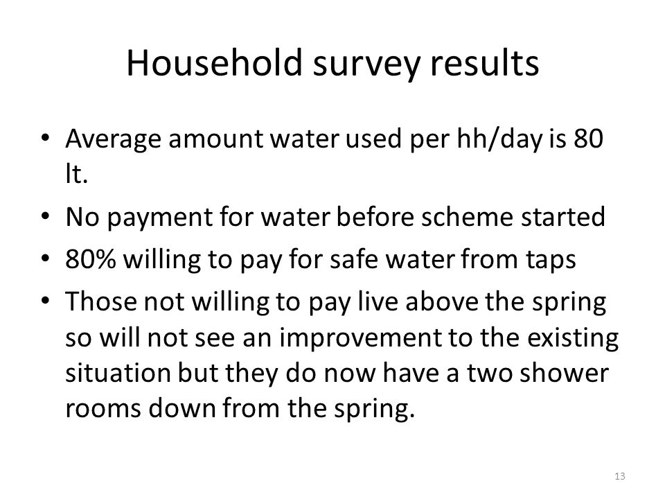 Household survey results Average amount water used per hh/day is 80 lt.
