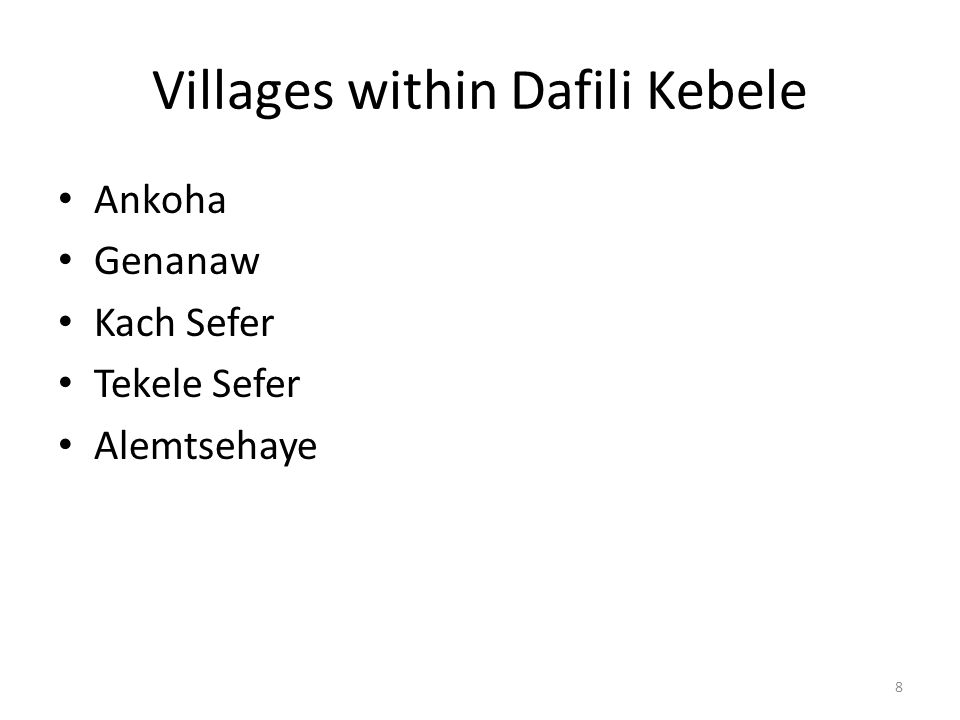 Villages within Dafili Kebele Ankoha Genanaw Kach Sefer Tekele Sefer Alemtsehaye 8