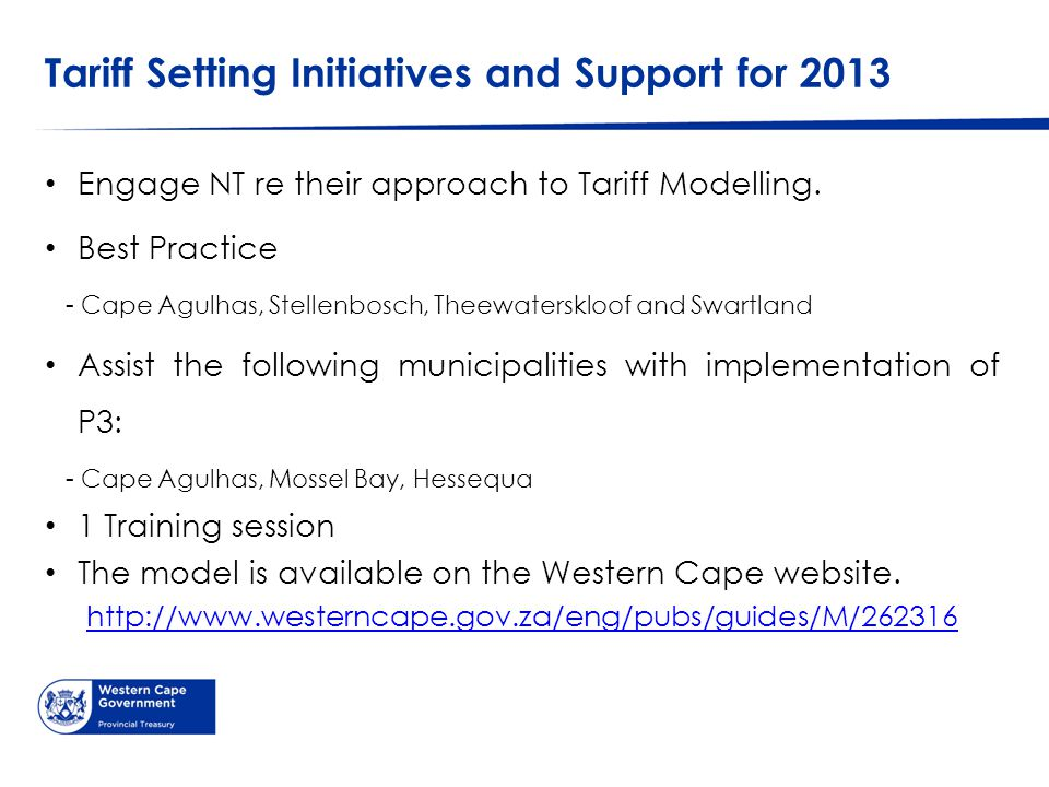 Tariff Setting Initiatives and Support for 2013 Engage NT re their approach to Tariff Modelling.