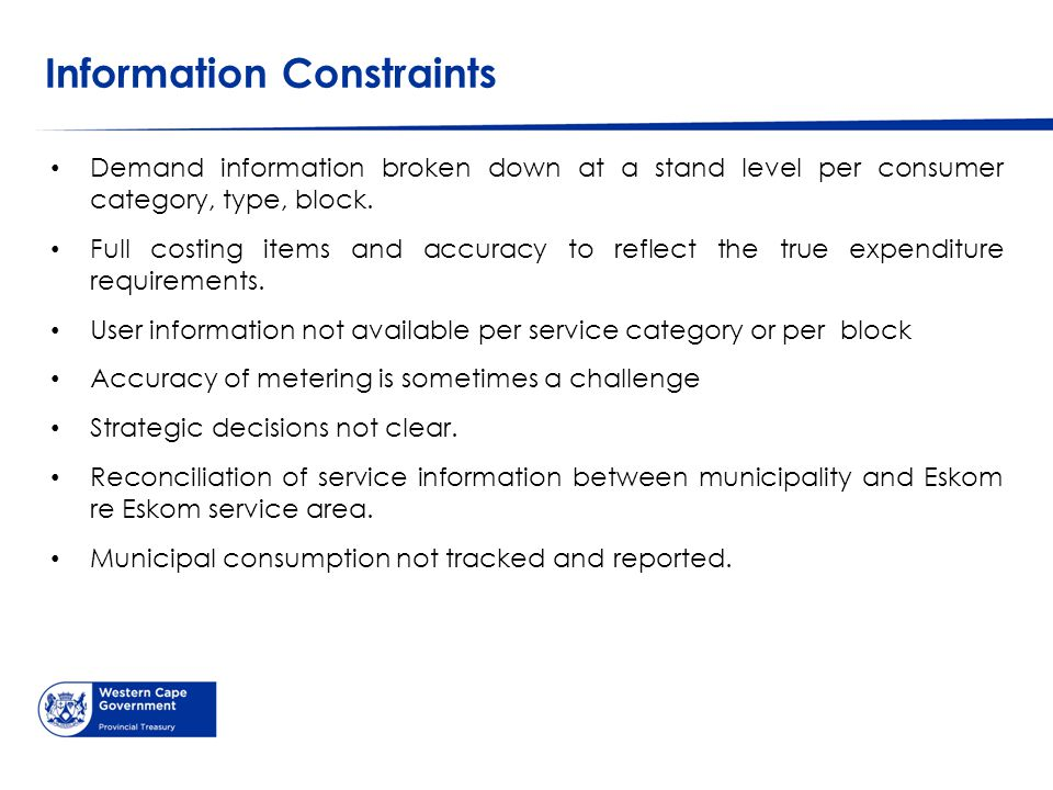 Information Constraints Demand information broken down at a stand level per consumer category, type, block.