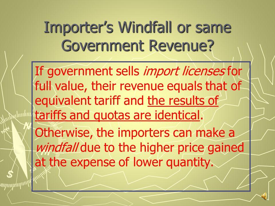 Both tariffs and import quotas...  raise domestic prices.
