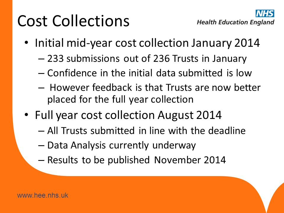 www.hee.nhs.uk Cost Collections Initial mid-year cost collection January 2014 – 233 submissions out of 236 Trusts in January – Confidence in the initial data submitted is low – However feedback is that Trusts are now better placed for the full year collection Full year cost collection August 2014 – All Trusts submitted in line with the deadline – Data Analysis currently underway – Results to be published November 2014