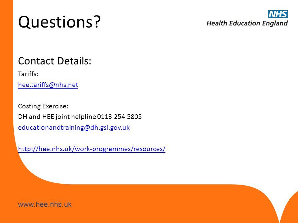 www.hee.nhs.uk Questions.