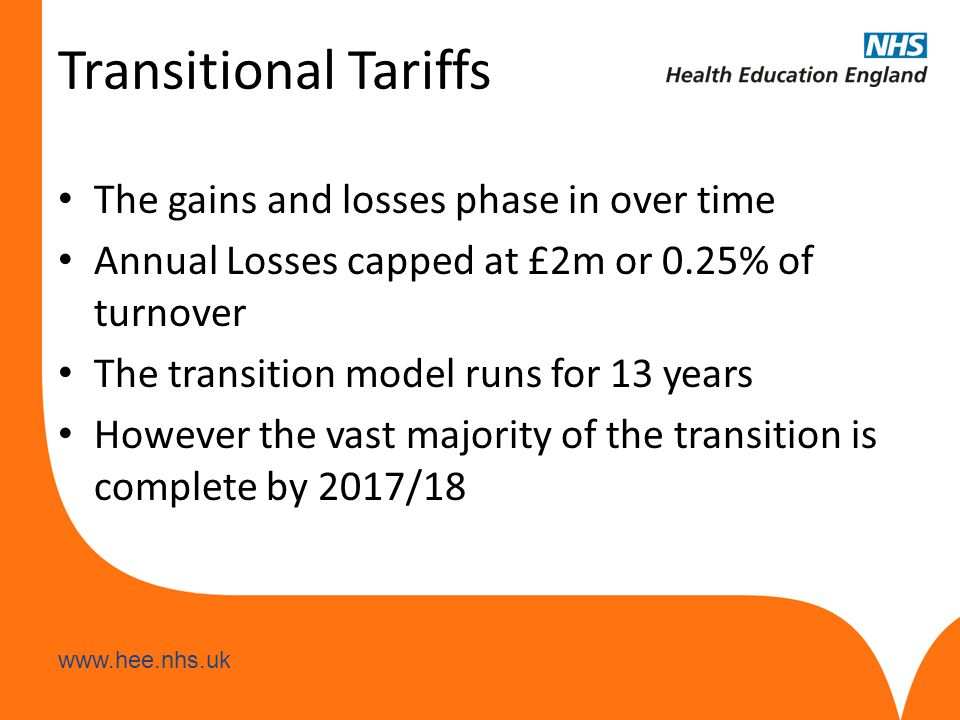 www.hee.nhs.uk Tariff Rates The tariffs for 14/15 are as follows: Non-medical: £3,175 plus MFF Medical undergraduate: £34,623 plus MFF Medical postgraduate: £12,400 plus MFF, plus 50% of the basic salary costs *MFF = Market Forces Factor