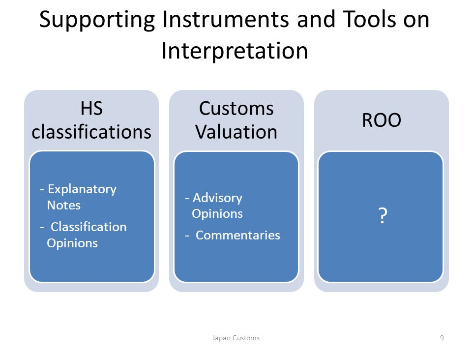 Supporting Instruments and Tools on Interpretation HS classifications - Explanatory Notes - Classification Opinions Customs Valuation ROO 9Japan Customs - Advisory Opinions - Commentaries ?