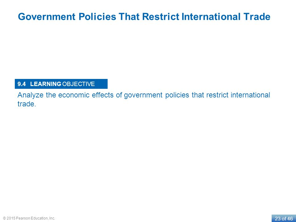 LEARNING OBJECTIVE 23 of 46 © 2015 Pearson Education, Inc. Government Policies That Restrict International Trade 9.4 Analyze the economic effects of g