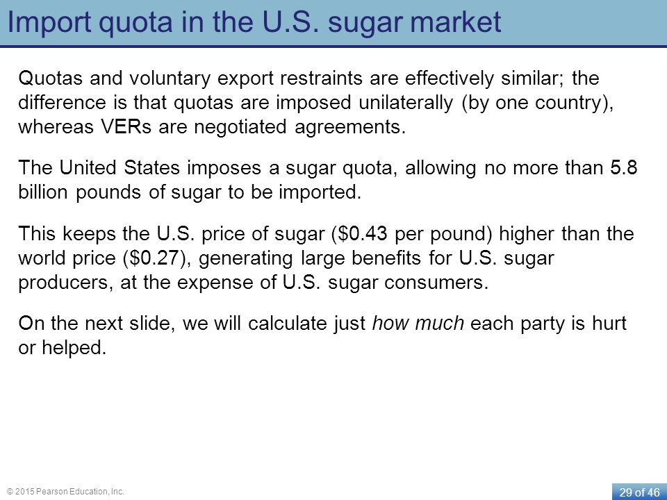 29 of 46 © 2015 Pearson Education, Inc. Import quota in the U.S. sugar market Quotas and voluntary export restraints are effectively similar; the diff