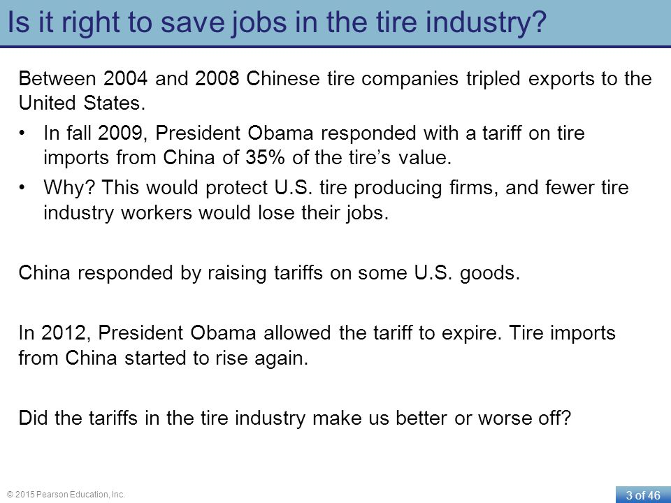 3 of 46 © 2015 Pearson Education, Inc. Is it right to save jobs in the tire industry? Between 2004 and 2008 Chinese tire companies tripled exports to