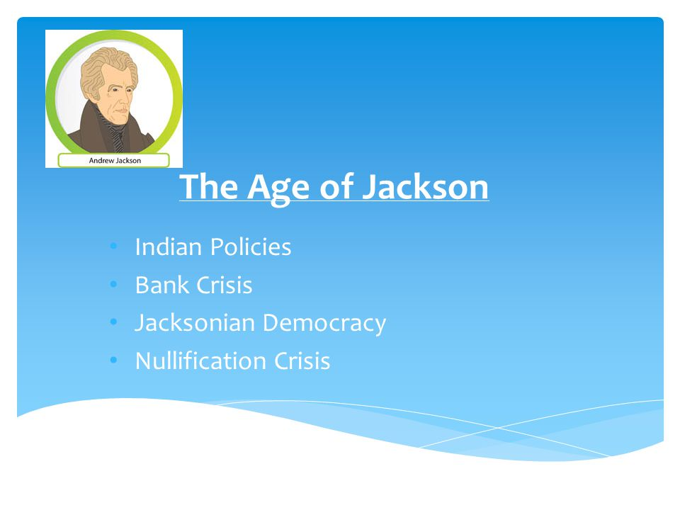 The Age of Jackson Indian Policies Bank Crisis Jacksonian Democracy Nullification Crisis