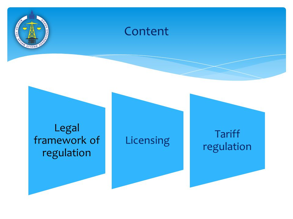 Legal framework of regulation Licensing Tariff regulation Content