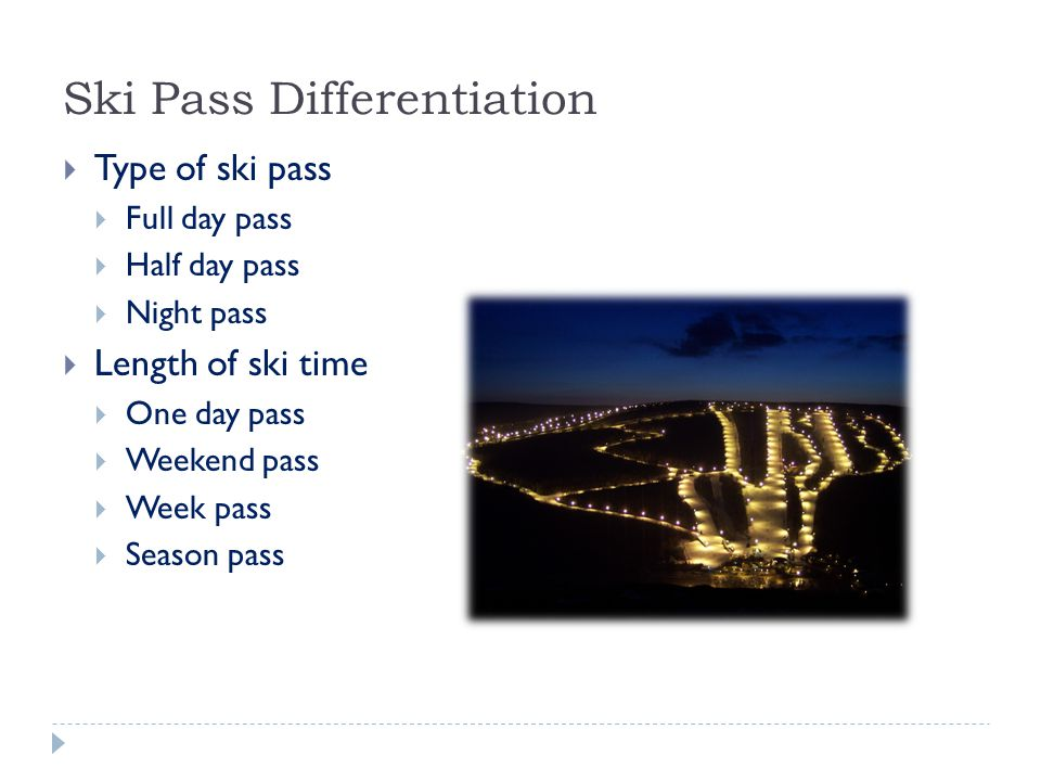 Ski Pass Differentiation  Type of ski pass  Full day pass  Half day pass  Night pass  Length of ski time  One day pass  Weekend pass  Week pass  Season pass