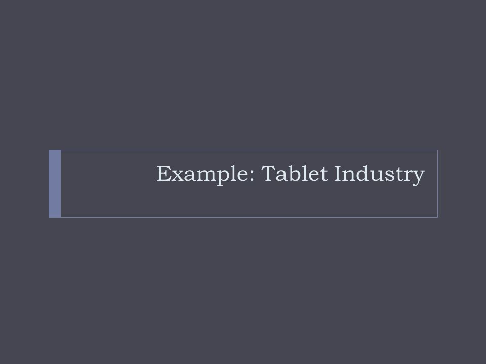 Example: Tablet Industry