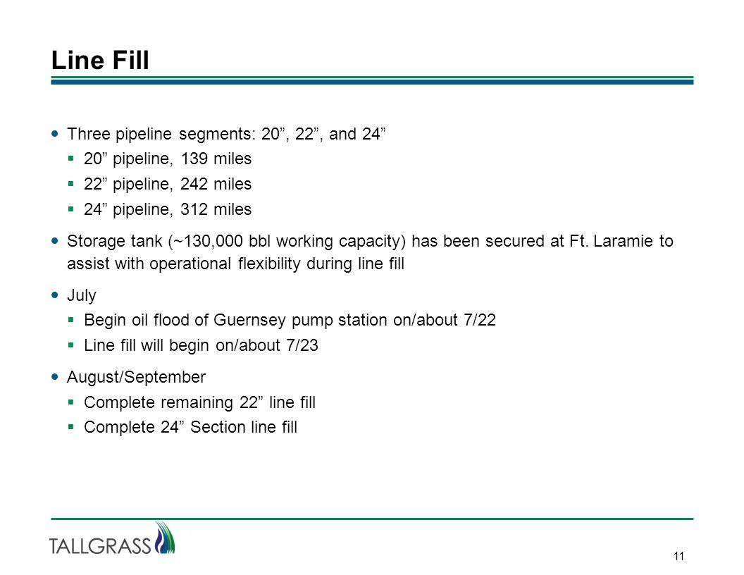 """Line Fill 11 Three pipeline segments: 20"""", 22"""", and 24""""  20"""" pipeline, 139 miles  22"""" pipeline, 242 miles  24"""" pipeline, 312 miles Storage tank (~1"""