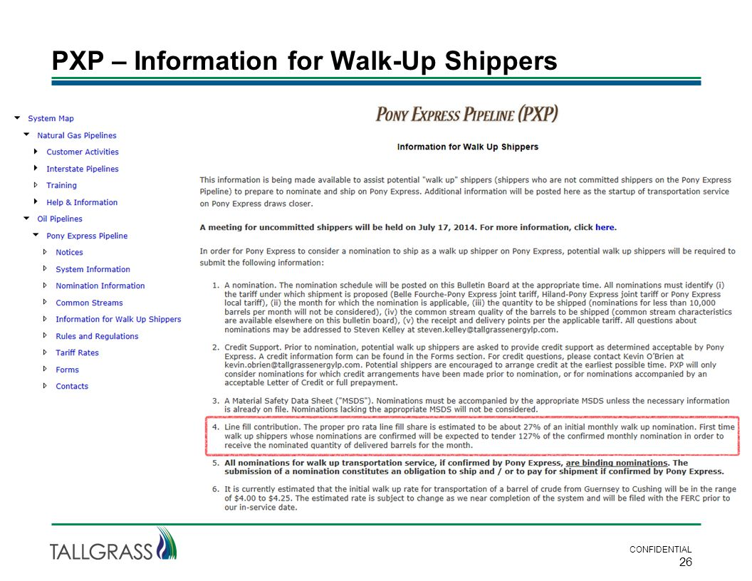 PXP – Information for Walk-Up Shippers CONFIDENTIAL 26