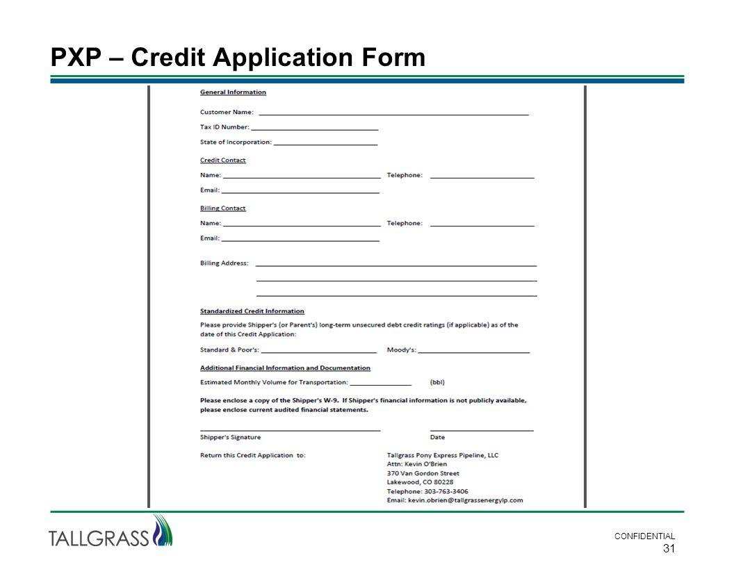 PXP – Credit Application Form CONFIDENTIAL 31