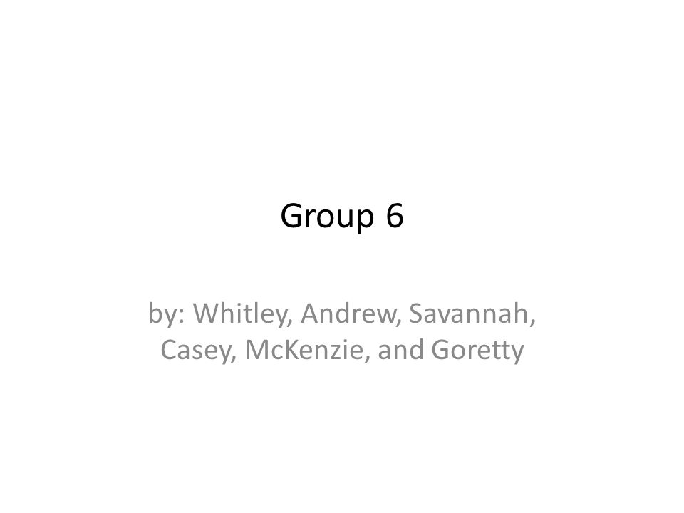 Group 6 by: Whitley, Andrew, Savannah, Casey, McKenzie, and Goretty