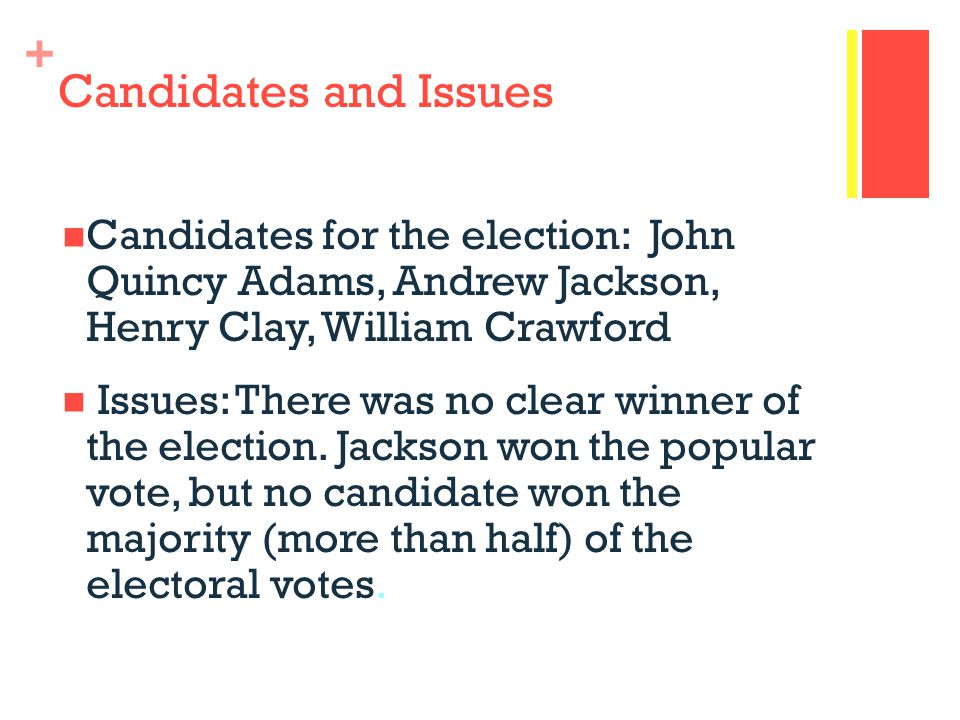 + Candidates and Issues Candidates for the election: John Quincy Adams, Andrew Jackson, Henry Clay, William Crawford Issues: There was no clear winner of the election.