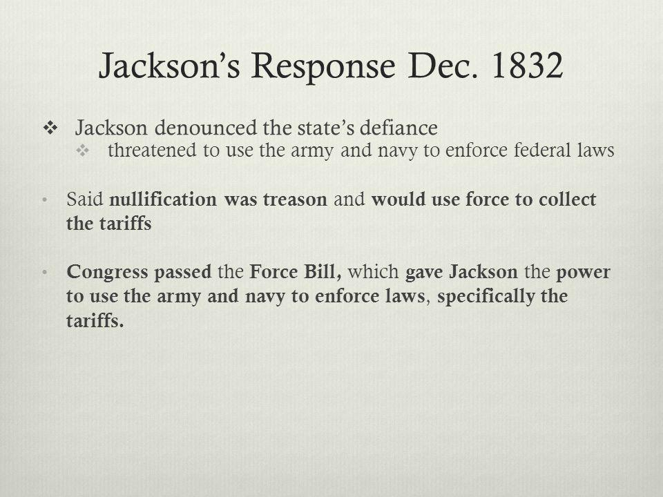 Jackson's Response Dec.