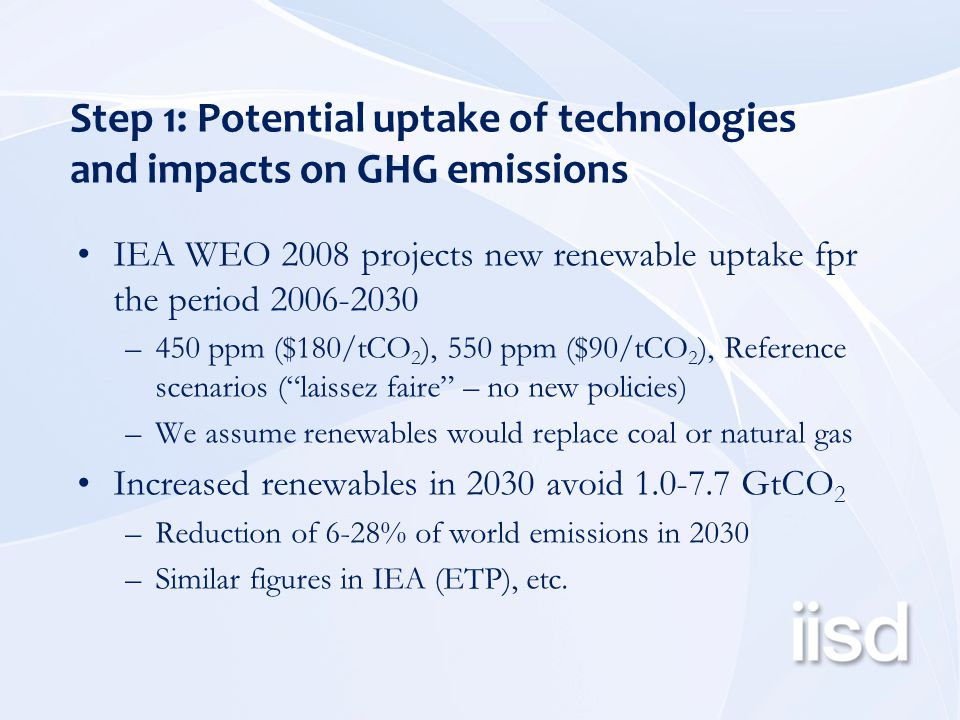 Step 1: Potential uptake of technologies and impacts on GHG emissions IEA WEO 2008 projects new renewable uptake fpr the period 2006-2030 –450 ppm ($180/tCO 2 ), 550 ppm ($90/tCO 2 ), Reference scenarios ( laissez faire – no new policies) –We assume renewables would replace coal or natural gas Increased renewables in 2030 avoid 1.0-7.7 GtCO 2 –Reduction of 6-28% of world emissions in 2030 –Similar figures in IEA (ETP), etc.