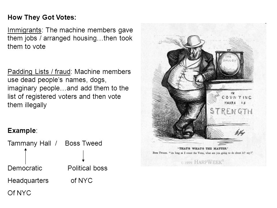 How They Got Votes: Immigrants: The machine members gave them jobs / arranged housing…then took them to vote Padding Lists / fraud: Machine members us