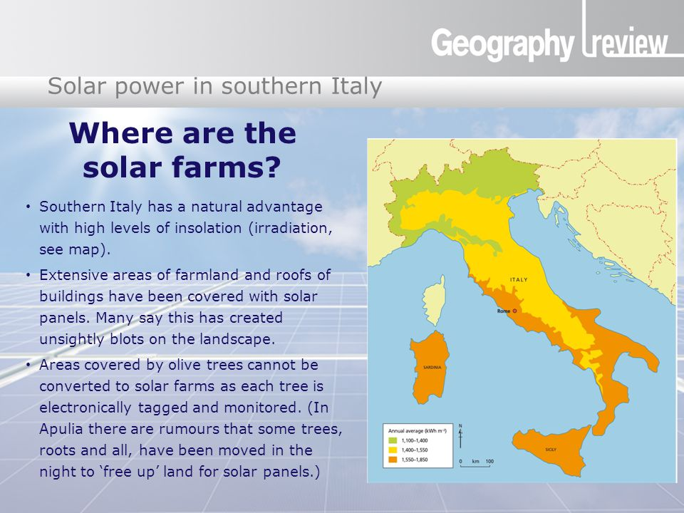Global Digital Divide Solar power in southern Italy Where are the solar farms.
