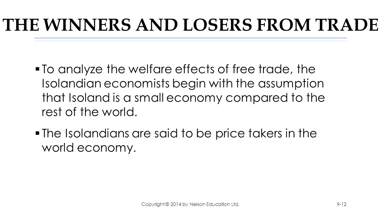 THE WINNERS AND LOSERS FROM TRADE  To analyze the welfare effects of free trade, the Isolandian economists begin with the assumption that Isoland is