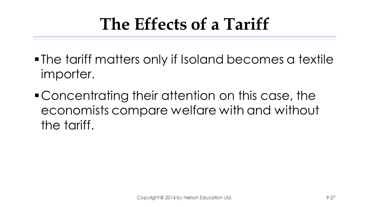The Effects of a Tariff  The tariff matters only if Isoland becomes a textile importer.  Concentrating their attention on this case, the economists