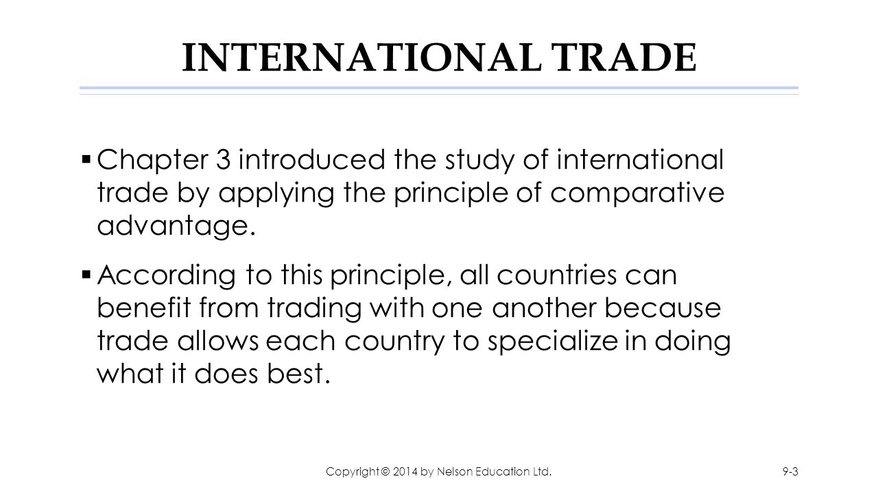 FIGURE 9.2: International Trade in an Exporting Country Copyright © 2014 by Nelson Education Ltd.9-14
