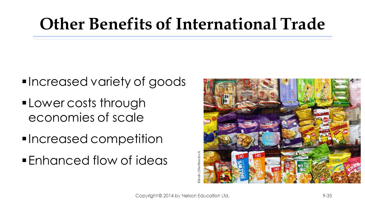 Other Benefits of International Trade  Increased variety of goods  Lower costs through economies of scale  Increased competition  Enhanced flow of