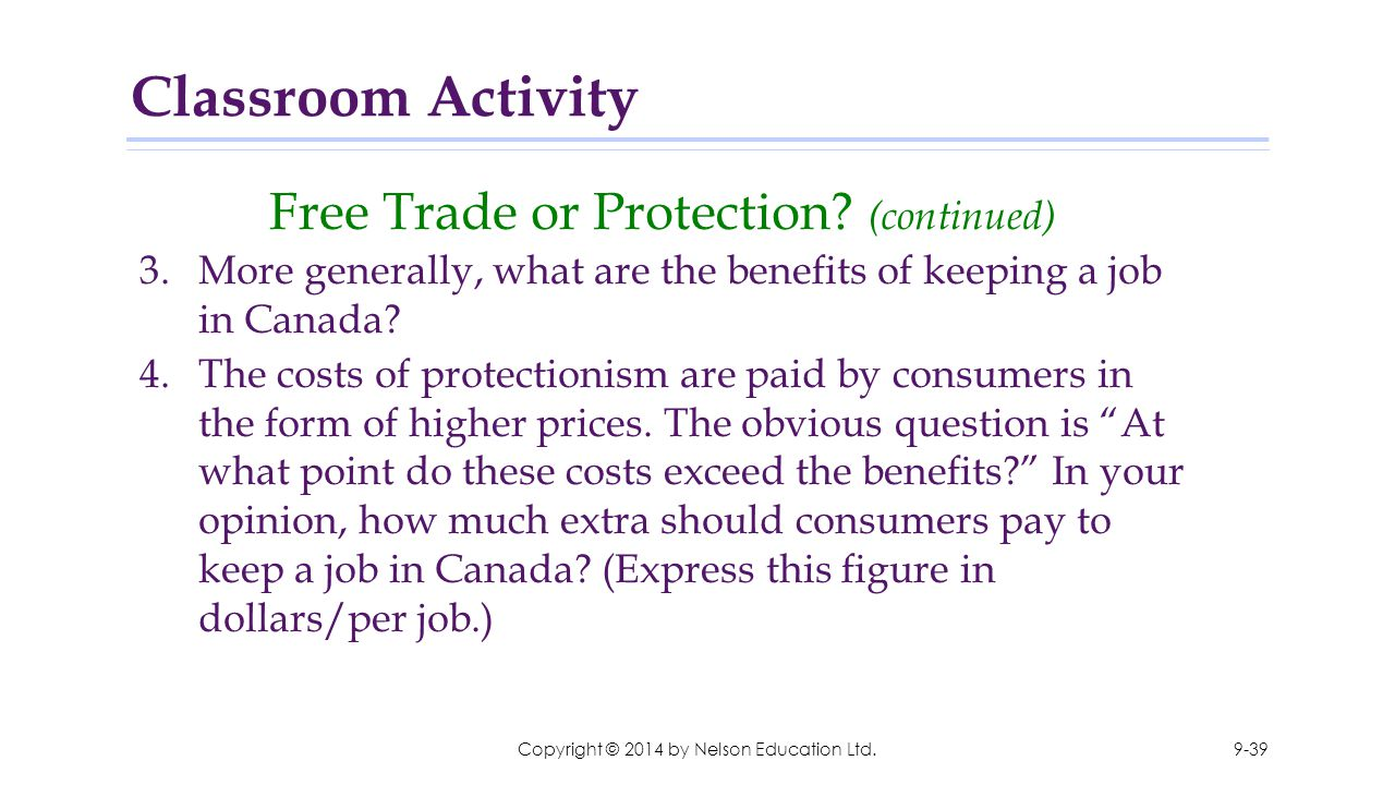 Copyright © 2014 by Nelson Education Ltd. Free Trade or Protection? (continued) 3.More generally, what are the benefits of keeping a job in Canada? 4.