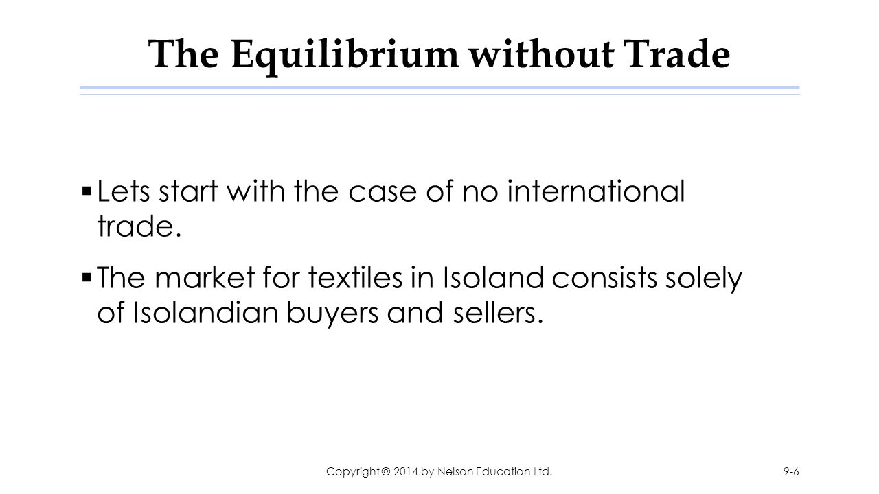 The Equilibrium without Trade  Lets start with the case of no international trade.  The market for textiles in Isoland consists solely of Isolandian
