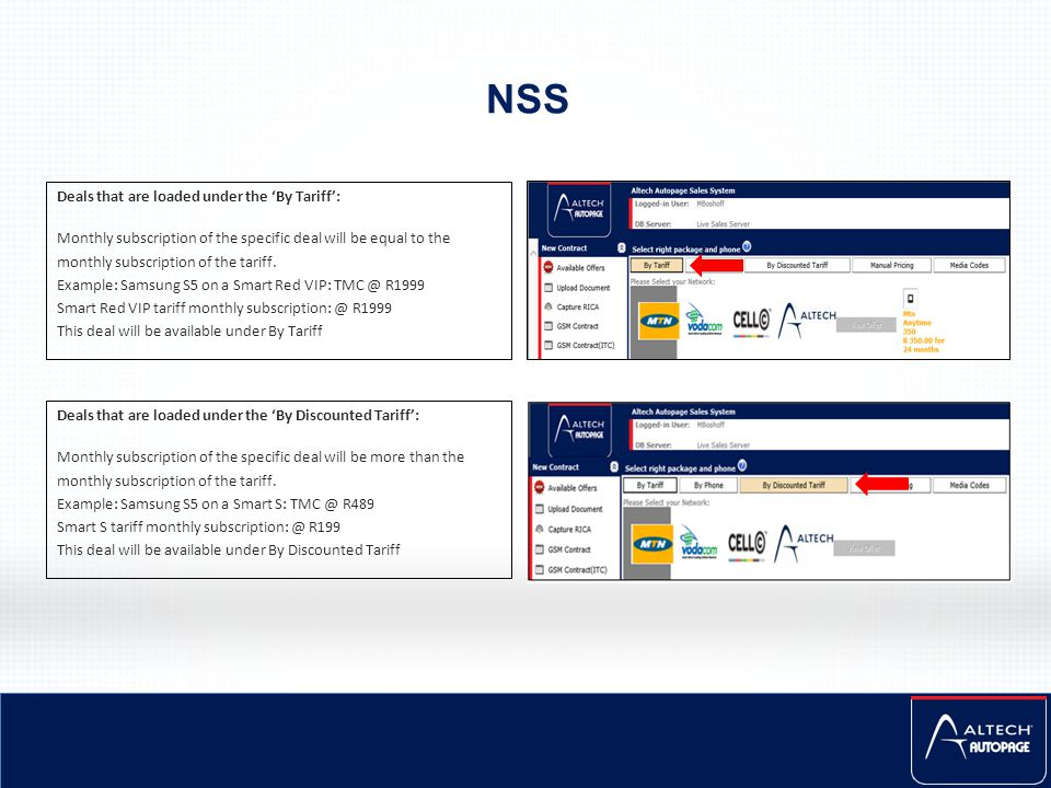 NSS Deals that are loaded under the 'By Tariff': Monthly subscription of the specific deal will be equal to the monthly subscription of the tariff. Ex