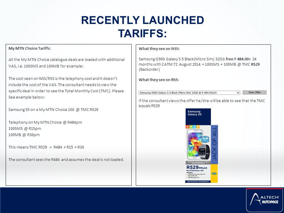 RECENTLY LAUNCHED TARIFFS: My MTN Choice Tariffs: All the My MTN Choice catalogue deals are loaded with additional VAS, i.e. 100SMS and 100MB for exam