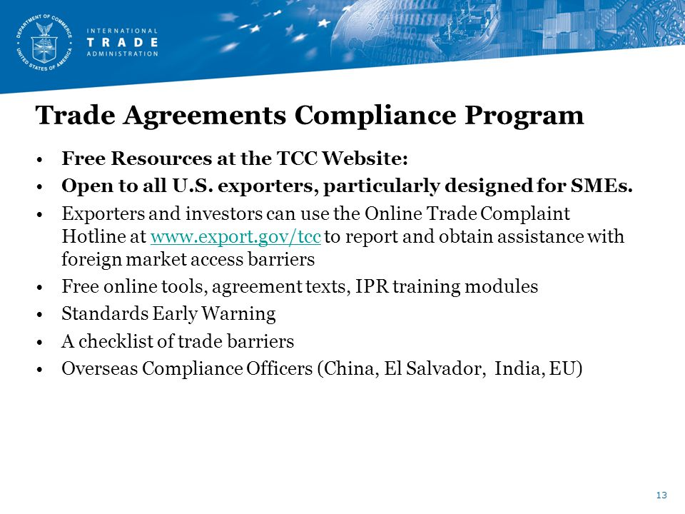 Trade Agreements Compliance Program Free Resources at the TCC Website: Open to all U.S.