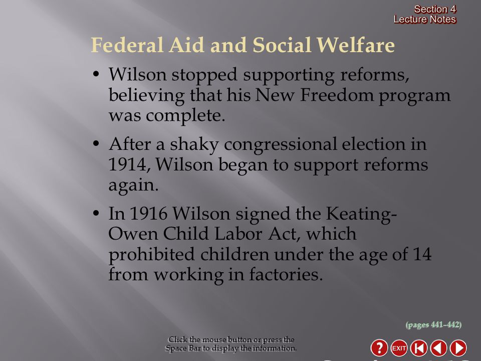 Federal Aid and Social Welfare Click the mouse button or press the Space Bar to display the information.