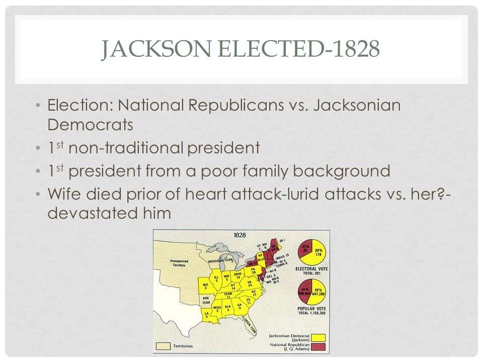 JACKSON ELECTED-1828 Election: National Republicans vs.