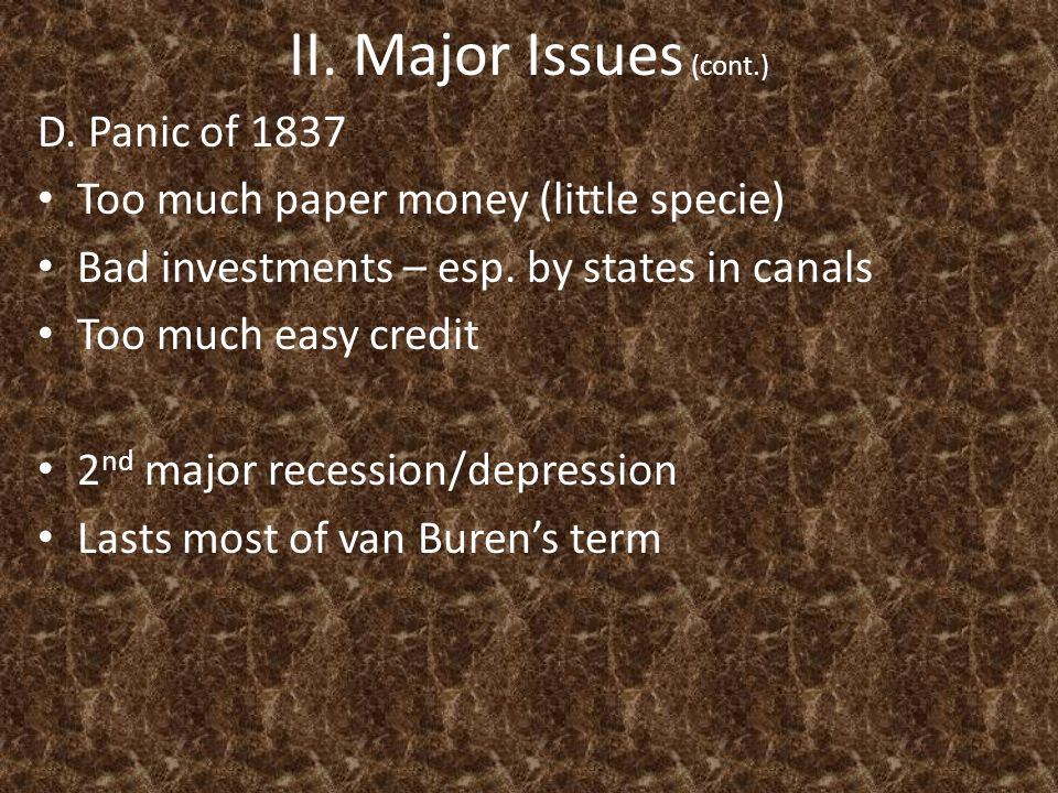 II. Major Issues (cont.) D.