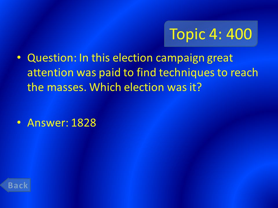 Topic 4: 400 Question: In this election campaign great attention was paid to find techniques to reach the masses.