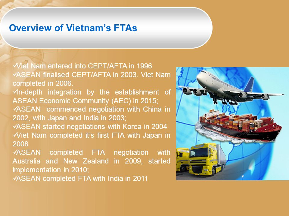 Viet Nam entered into CEPT/AFTA in 1996 ASEAN finalised CEPT/AFTA in 2003. Viet Nam completed in 2006. In-depth integration by the establishment of AS