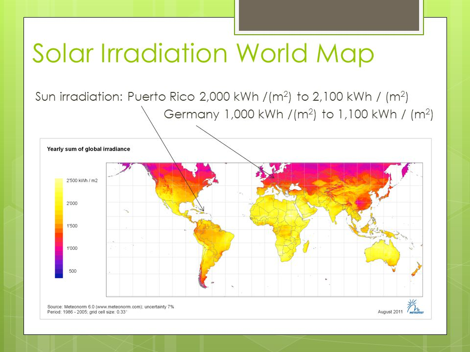 Sun irradiation: Puerto Rico 2,000 kWh /(m 2 ) to 2,100 kWh / (m 2 ) Germany 1,000 kWh /(m 2 ) to 1,100 kWh / (m 2 ) Solar Irradiation World Map