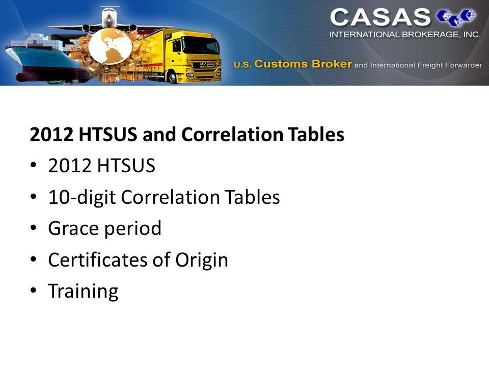 2012 HTSUS and Correlation Tables 2012 HTSUS 10-digit Correlation Tables Grace period Certificates of Origin Training