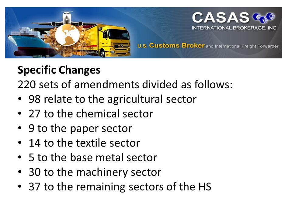 Specific Changes 220 sets of amendments divided as follows: 98 relate to the agricultural sector 27 to the chemical sector 9 to the paper sector 14 to the textile sector 5 to the base metal sector 30 to the machinery sector 37 to the remaining sectors of the HS