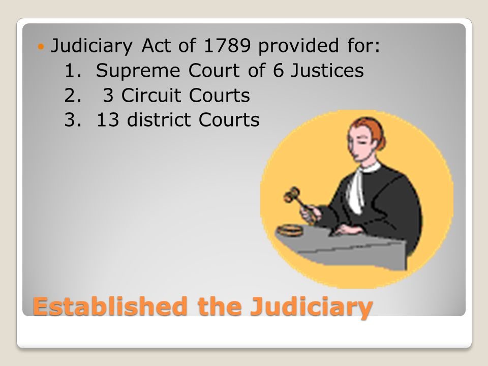 Established the Judiciary Judiciary Act of 1789 provided for: 1.