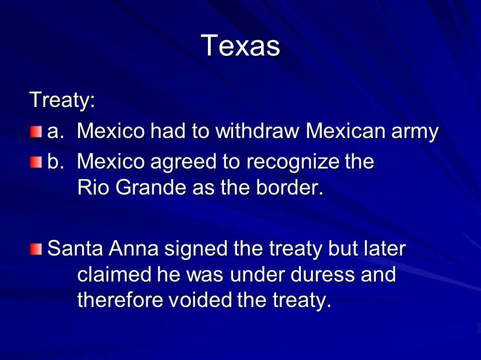 US Response a.Refused to annex Texas due to the slavery issue in 1836 – too controversial b.