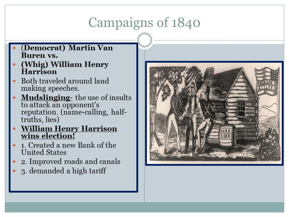 Campaigns of 1840 (Democrat) Martin Van Buren vs.