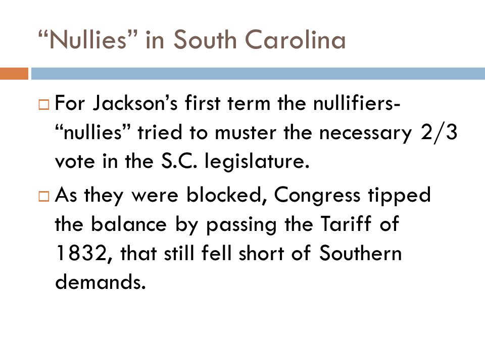 Nullies in South Carolina  For Jackson's first term the nullifiers- nullies tried to muster the necessary 2/3 vote in the S.C.